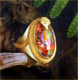 Carolyn Tyler Spiral Snake Ring with opal